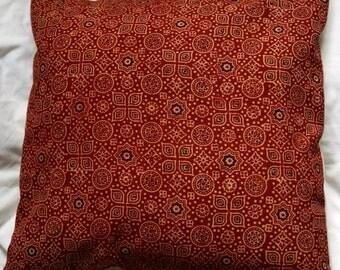 Punjab series 5: cushion, 40x40cm (16 x 16), Indian cotton printed traditionally, ajrakh, red, black, blue, beige cotton.