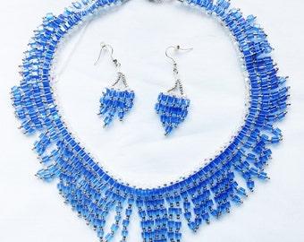 Blue Crystal Cube Necklace with matching Earrings