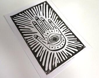 Spiritual Hand - Lino Print