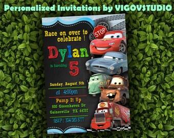 Disney Cars Invitation- Cars Chalkboard Invite- McQueen birthday invitation- PERSONALIZED- Digital File- Disney Cars Party