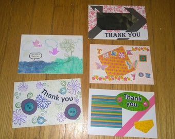 5 Thank You Cards Sincerely Fun Different Way to Show How You Feel Cute blank inside homemade handmade 3D mixed media