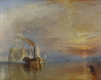 William Turner : The Fighting Téméraire (1838) Canvas Gallery Wrapped Wall Art Print