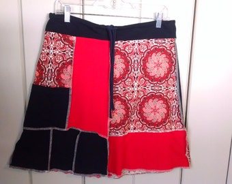 Medium Women's Handmade Upcycled T-shirt Skirt Navy Red Rodeo Pattern with Pocket