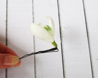 Snowdrop bobby pin - Flowers hair pin - Flowers hair accessories - Foam handmade flowers -  flowers hair decoration - Floral hairpin