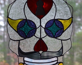 Sugar Skull King of Hearts in Stained Glass
