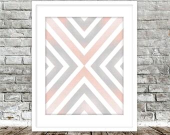 Gray Blush Printable Art, Scandinavian Nordic Print, Geometric Minimalist, Large Abstract Poster, Scandinavian Poster, Digital Download