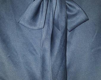 Vintage Neck Tie Blouse/ Navy Blue/ Size 14