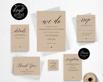 Rustic Wedding Invitation Template, We Do Wedding Invitation Printable, Vintage Invitation, Cheap Invitation, DIY PDF Instant Download #E015