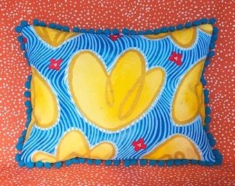 Yellow Pumpkin Flower Pom Pillow