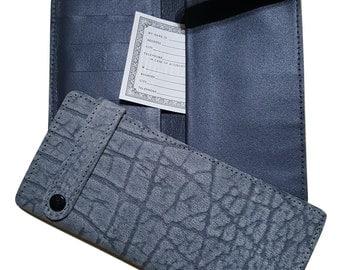 Gray Wildebeest boot wallet, Genuine leather wallet, Exotic leather, genuine wildebeest leather