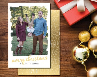 Merry Christmas Printable Christmas Card. Two-sided. Gold and White. Paintbrush Stroke Holiday Card.
