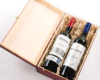 Wooden Wine Box. Wine gift box. Double bottle. Double wine box. Presentation : champagne bottle gift box - Aboutintivar.Com