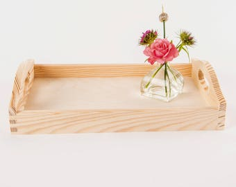 Wooden Tray, Breakfast & Tea serving, untreated pine wood, 3 sizes to choose