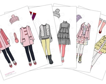 Winter Wardrobe-Printable Paper Doll-Digital Paper Doll-Winter Clothes-PDF Instant Download-Coloring Page