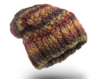 Very Thick Chunky Hat Earth Wool beanie hat  chunky hand knit hat