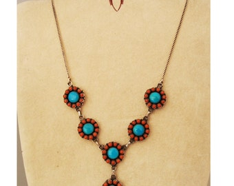 Flower necklace in 925 sterling silver with turquoise and coral stones