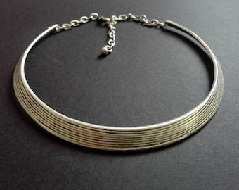 Antique Silver Plated Choker Necklace, Silver Necklace, Silver Plated Collar, Silver Plated Necklace, Boho Chocker, Statement Chocker