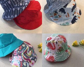 Reversible Children's Sun Hat, girls and boys, unisex sun hat