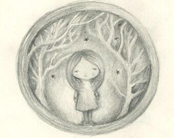 Star forest - Mini framed original artwork