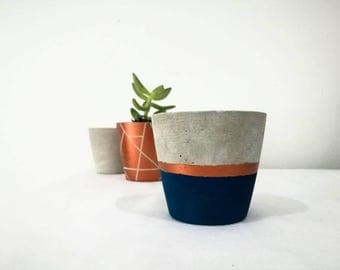 Small Concrete Planter with Navy and Metallic Painted Finish
