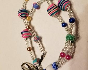 "34"" Multi-Color Swirled Beaded Lanyard"