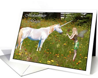 Midsummer Fairy and Unicorn Greeting Card