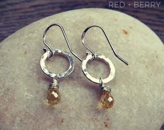 Lemon Drop Earrings, hammered silver earrings, citrine earrings, sterling silver earrings
