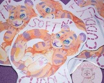 "Soft 'n Cuddly Tiger - 4"" glossy sticker"