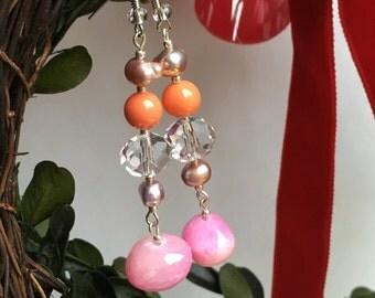 pink orange crystal pearl earring