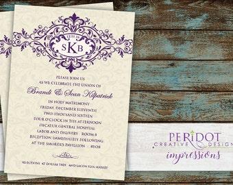 """Vintage Monogram Wedding Invitation - 5""""x7"""" - Custom Colors Available"""