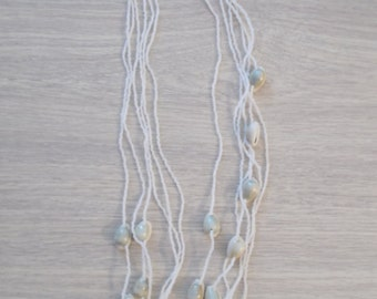 Necklace in pearls and shells sea foam
