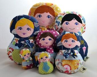Russian doll, Babushka dolls, CE mark, fabric doll, cloth doll, rag doll, customise. personalise, family gift, girl's gift, teenage gift,