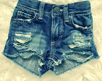 CECELIA hand destroyed distressed true blue shorty shorts