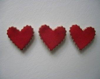 Kitchen Magnets, Handmade Fridge Magnets Set, Kitchen Decor, Set of 3, heart