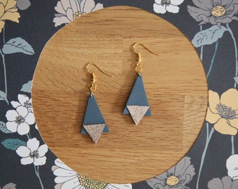 Earrings leather, blue and gold iridescent