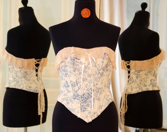 "Corset ""Ange"" Jouy cotton blue white liberty flower pattern pink lace countess costume lingerie bal removable straps"