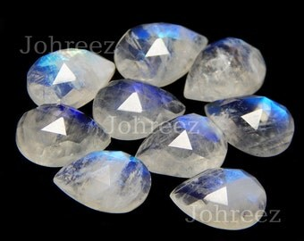 10 pieces natural rainbow moonstone pear rose cut loose gemstone