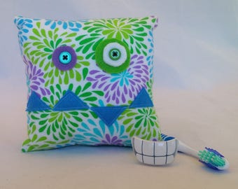 Monster Tooth Fairy Pillow - cool tone floral, blue teeth, aqua back