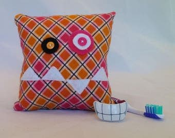 Monster Tooth Fairy Pillow - pink & orange check, black back
