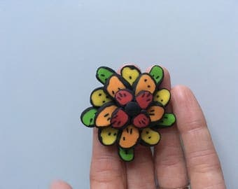 Large bright flower Brooch - multicoloured neon flower - red, orange, yellow, green - cute - pin - polymer clay -petals