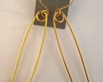 Gold Plated Large Safety Pin Earrings