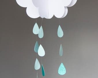 Small Raincloud Mobile, 3D raincloud mobile
