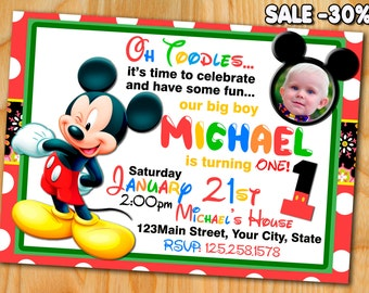 Mickey Mouse, Mickey Mouse birthday, Mickey Mouse Invitation, Holiday Party Invitation, Mickey Mouse Printable, Mickey Mouse birthday party
