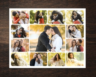 Photo Collage Template 8,5 x 11 #3, 13 photo, Storyboard Template, Photographer Template, PSD template