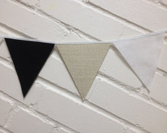 Mini Bunting flags. Decorative Garland. Jute, black, white and gold. Reversible and reusable. Party decor.