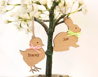 Personalised Easter Tree Decorations, Easter Bunny Decoration, Easter Chick Decoration, Easter Tree Wooden Decorations, Easter Ornament