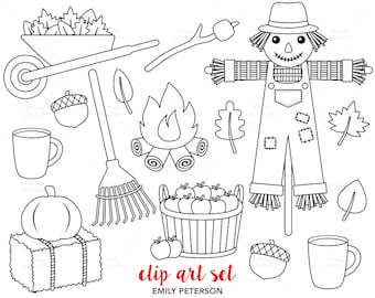 Autumn, Scarecrow, Fall Leaves - Cute Digital Stamps, Line Art  - Commercial Use, Instant Download
