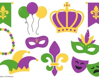 Mardi Gras, Carnival, Fat Tuesday - Cute Clipart, Clip Art - Commercial Use, Instant Download