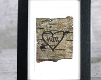 Birch bark personalised message,customised gift for mother, ANY MESSAGE burnt onto natural birch bark, mums birthday