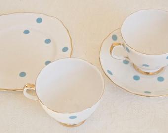 Royal Vale vintage light blue polka dot mini tea set. Bone china Made in England. Ideal for Tea & Coffee lovers, tea party, housewarming
